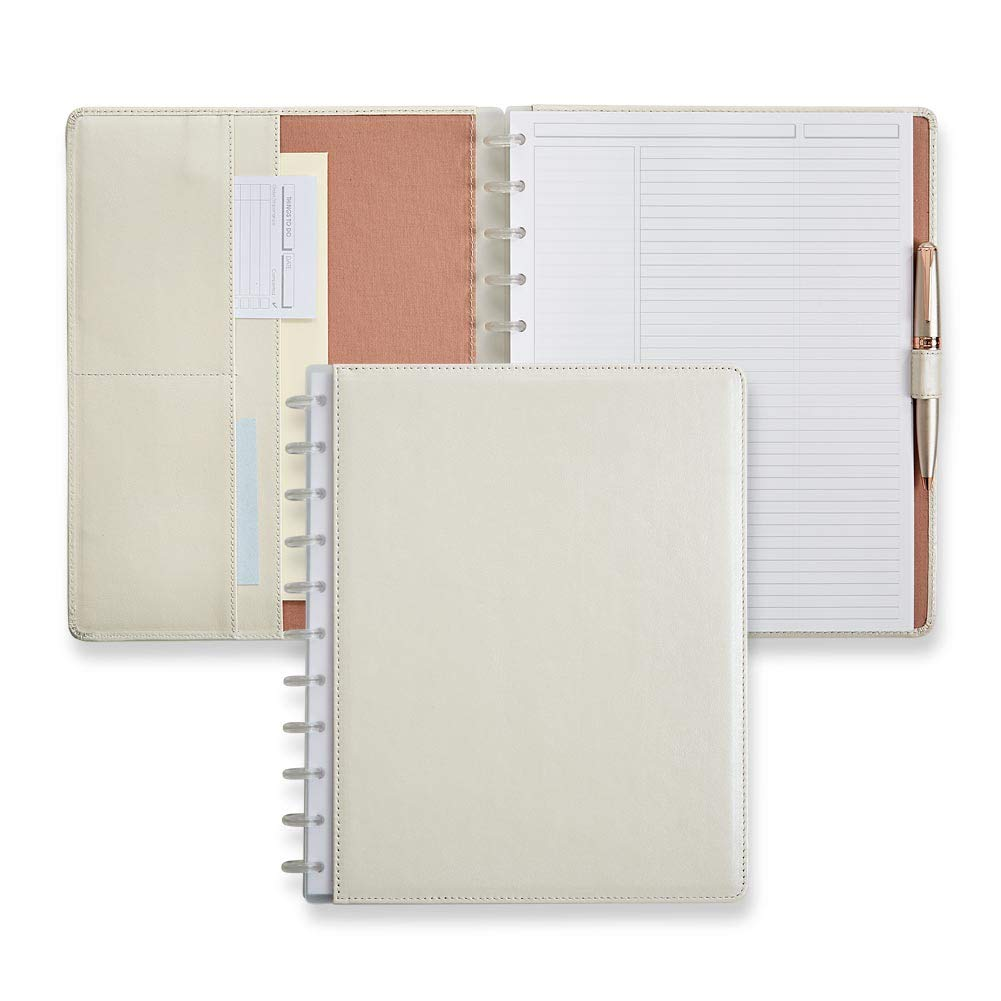 Levenger Circa Pearl White Foldover Notebook, Letter