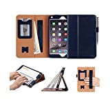 iPad Mini 4 Case Cover, FYY [Super Functional Series] Premium Leather Case Stand Cover with Card Slots, Note Holder, Quality Hand Strap and Elastic Strap for iPad Mini 4 Navy Blue (With Auto Wake/Sleep Feature)