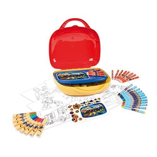 Smoby - 410805 - Sam le Pompier - Mallette d'Artiste - 60 Accessoires Inclus
