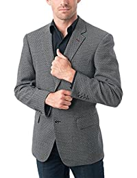 "<span class=""a-offscreen"">[Sponsored]</span>Men's Two Buttons Navy Blue & Black &Light Grey Wool Blend Classic Fit Casual Sports Coat Blazer Jacket"