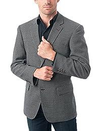 "<span class=""a-offscreen"">[Sponsored]</span>Men's Two Buttons Navy Blue & Black &Light Grey Wool Blend Slim&Classic Fit Casual Sports Coat Blazer Jacket"