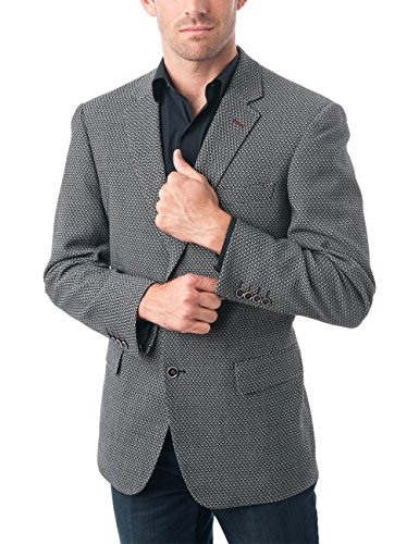 Fully Tweed Coat Lined (Chama Men's Two Buttons Navy Blue & Black &Light Grey Wool Blend Classic Fit Casual Sports Coat Blazer Jacket with Notch Lapel (Light Grey, 46R))