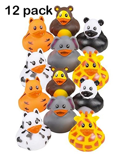 Tiger Stripes Purple Design - 12 Pack Zoo Animal Rubber Ducks 2 Inches Assorted Safari Animal Duckies - For Kids, Party Favors, Gift, Birthdays, Baby Showers, Bathtub Toys, Bath Time, Party Favors, And More – By Kidsco