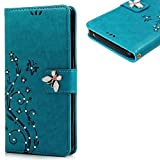 KAKA(TM) Beauty Printing Flower PU Leather Standing Protected Wallet Phone Case 3D Handmade Rhinestone Bling Crystal Design Cover With Credit Card Slot Holder For Samsung Galaxy Note 5 Green