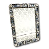 7 space 4by6 frame - Belle Maison Jeweled and Colored Stones Picture Frame Photo Frame Metal Pewter Tone 4 by 6