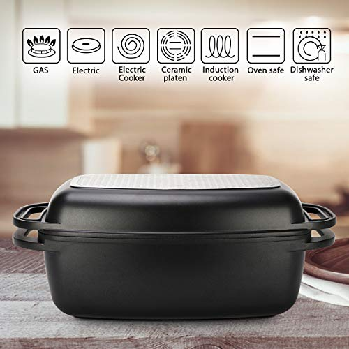 2in1 Covered Rectangle Roaster, Cast Aluminum with Original Swiss Non- Stick Coating ILAG Premium and Multi-Layer Lid,15.74 * 8.82 * 6.38 Inch, Black