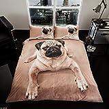 RIMI Hanger Duvet Cover Sets 3D Animal Print Bedding Pillow Cases King Size Double Single (Single, Single Pug)