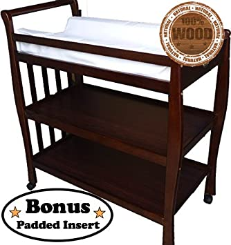 Solid Pine Baby Diaper Change Table With 2 Shelves (chestnut)