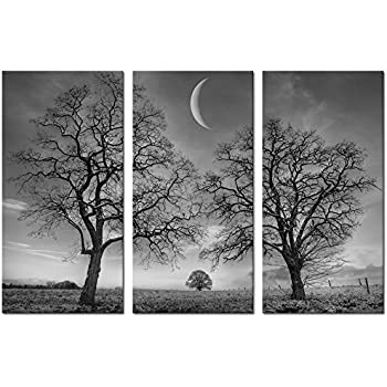 Black and white moon canvas wall art decorwinter tree forest under new moon canvas