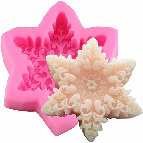 MoldFun Christmas Snowflake Shaped Silicone Mold for Chocolate Candy Wax Melts Soap Oreo Candle Resin Clay Soap Gum Paste Fondant Cake Decorating Tools