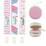 Babygoal Pacifier Clips for Girls-Premium Universal Pacifier Clip with Pacifier Case-Perfect Baby Shower Gift & Pacifier Holder(3 Pack) PS02