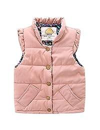 LittleSpring Little Girls' Vest Buttons Flower
