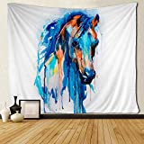 SARA NELL Wall Tapestry Horse Watercolor Blue Design Tapestries Hippie Art Wall Hanging Throw Tablecloth 60X90 Inches for Bedroom Living Room Dorm Room