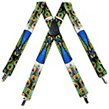 SUS 367 WLPC   Peacock Novelty Themed X BACK Suspenders Blue Green Orange One Size