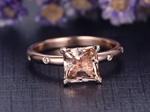 7mm Natural Princess Cut Pink Morganite Engagement Ring Solitaire Solid 14k Rose Gold Diamond Wedding Rings Antique Anniversary Gift Bridal Ring Set Unique Style - Diamond Rose Emerald Ring Cut