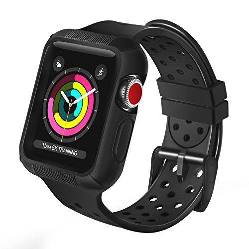 OULUOQI Compatible Apple Watch Band 42mm with Case, Shock-Proof and Protective Case with Soft Breathable Sport iWatch Band Compatible Apple Watch Series 3/2/1 Nike+ Sport Edition 42mm - Black