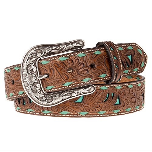 Nocona Belt Co. Women's Turquoise Inlay Buck Belt, brown, Medium