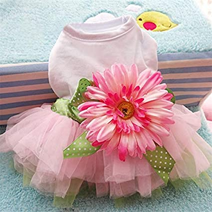 cd34ae95b8e57 Image Unavailable. Image not available for. Color: Summer Puppy Clothes Cute  Pet Dress Dog Sunflower Fairy Guaze Tutu Dresses Dancing Costume ...