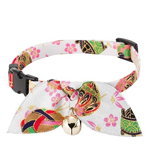 - Necoichi Kimono Ribbon Cat Collar (White)