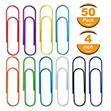 Hongfa 50 Pack 4 inches Mega Large Paper Clips - 10 Colors 100mm Office Supply Accessories Cute Paper Needle Multicolor Bookmark