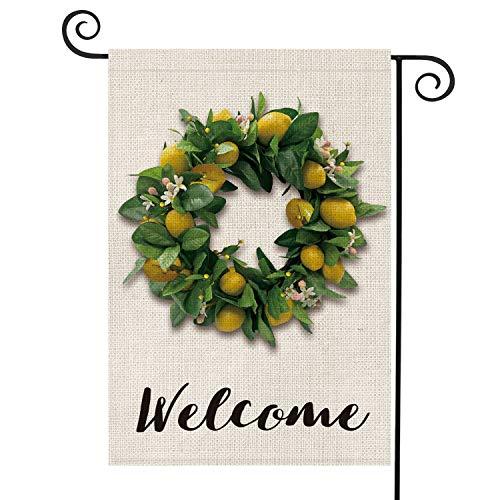 - AVOIN Welcome Lemon Grapevine Lime Wreath Garden Flag Vertical Double Sided, Seasonal Summer Rustic Farmhouse Burlap Yard Outdoor Decoration 12.5 x 18 Inch