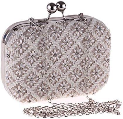 イブニングバッグ、クラッチバッグ、小銭入れ、パールバッグ、ハンドバッグ、スモールスクエアバッグ、(色:シルバー)ビーズ、大容量 美しいファッション
