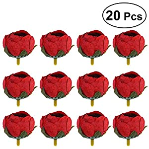 TOYANDONA 20 Pcs DIY Artificial Fake Camellia Flowers Heads for Weddings Parties Home Decoration 3.5cm (Red) 40