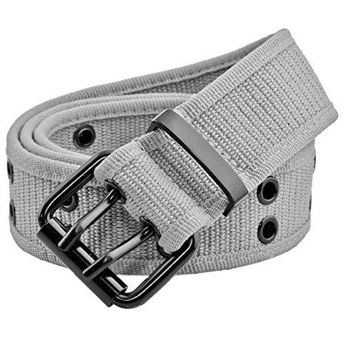 moonsix Canvas Web Belts for Men,Solid Color Casual Double Hole Grommet Belt,Grey by moonsix