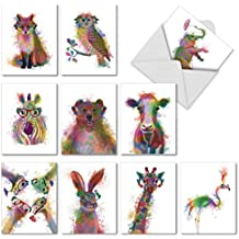 Painted Watercolor Note Cards - Assorted Funky Rainbow Wildlife Blank Card (with Envelope) - Cute Animal Greeting Cards & Stationary for All Occasions - (Box of 10) M4948OCB-B1x10