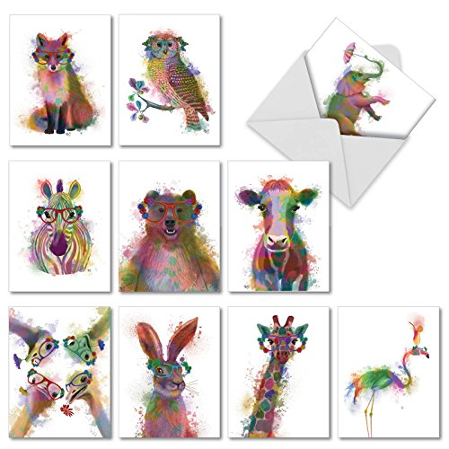 Funky Rainbow Wildlife: 10 Assorted Blank Watercolored Note Cards Set, Fun Stationary with Paintings of Animals in Bright Colors, Box of 10 Folded 4x5 Greeting Cards with Envelopes (M4948OCB-B1x10).