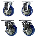 Service-Caster-SCC-20S414-PPUB-TLB-2-R414-2-BLUE-Swivel-Casters-with-Brakes-to-Rigid-Blue-Polyurethane-Wheel-Non-Marking-4-Size-Pack-of-4