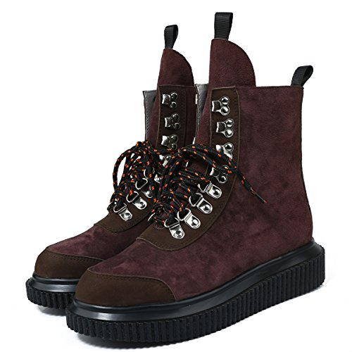 Femmes Bottes Boots High Cuir Creeper Plateforme Rouge Punk RoseG Top 7qdOxw78