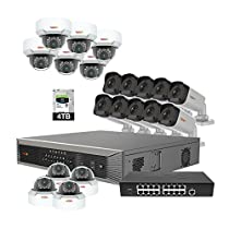 Revo America Ultra Plus Commercial Grade 32CH 4K H.265 NVR,  4 TB Surveillance Grade HDD, Remote Access, with 10x IR Bullet & 10x IR Mini Vandal Dome Cameras, 4 Megapixel,  Indoor/Outdoor, True WDR.