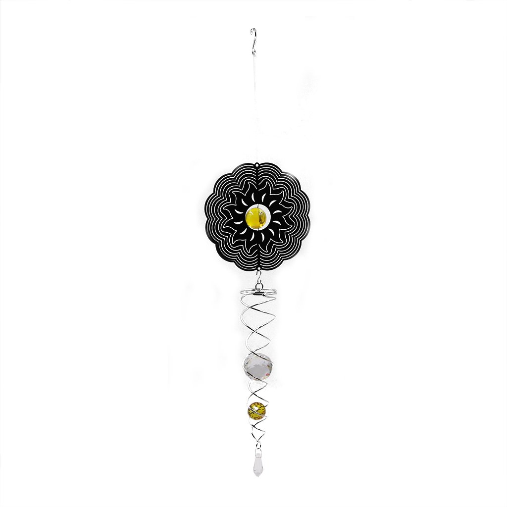Ymeibe Metal Sun Wind Spinner Hanging Garden Wind Spinner with Helix Spiral Tail and Glass Ball 3-D Stainless Steel Kinetic Twisting Decor for Patio, Deck or Yard