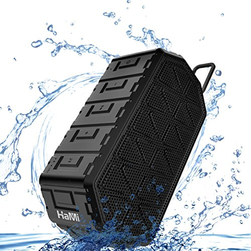 HaMi IP66 Waterproof Bluetooth Speaker 10W with 24-Hour Playtime, 66-Foot Bluetooth Range&Built-in Mic, Dual-Driver Portable Wireless Bluetooth 4.2 Speaker with selfie Mic for iPhone,Samsung and More