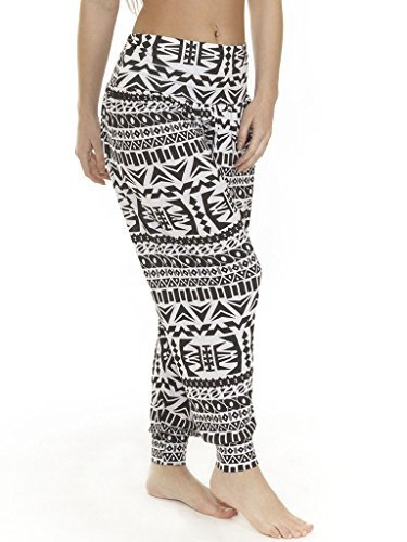 Love My Fashions - Pantaloni harem da donna, fantasie varie (azteca, leopardata, mimetica, tie-dye, orme di animali, teschi, tinta unita), alla caviglia o a 3/4, taglia S, M, L, XL, XXL, XXXL Big Aztec - Black