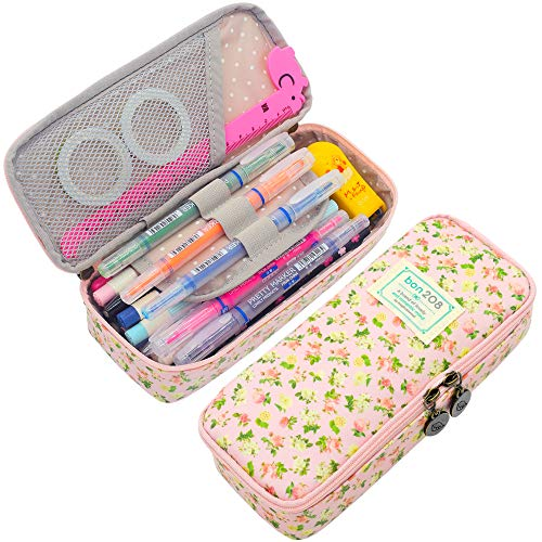 (Twinkle Club Cute Floral Pencil Pen Case Bag Pouch Holder for Middle High School College Office Girl Storage Pink)