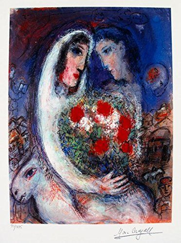 (Wall Art by Marc Chagall Marriage Limited Edition Facsimile Signed Small Giclee Print. After the Original Painting or Drawing. Paper 14.5 Inches X 10.5 Inches)