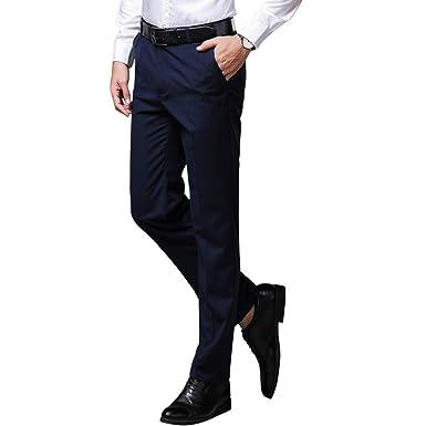 Daytwork Hombres Formal Traje Pierna Recta Estiramiento Pantalones ...