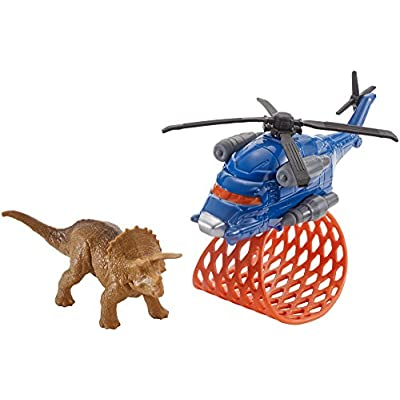 Matchbox Jurassic World Dino Transporters Tricera-copter Vehicle and Figure: Toys & Games