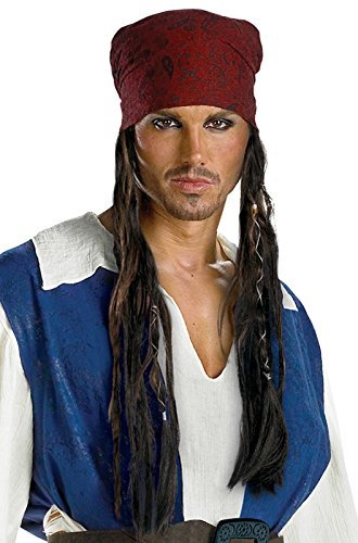 Adult Jack Sparrow Hat (Disguise Men's Disney Pirates Of The Caribbean Jack Sparrow Adult Headband with Hair, Brown, One Size)