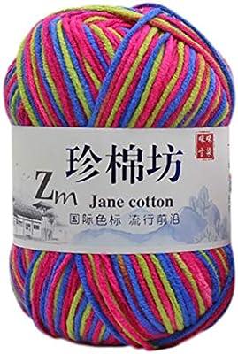 Ovillo de lana para tejer, 50 g, teñido por ovillo, colorido, hilo de crochet de algodón de leche, hilo de tejer a mano U: Amazon.es: Hogar
