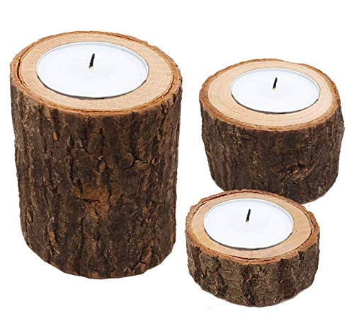 (Astra Gourmet Natural Pine Wood Candle Holder/Wooden Tea Light Candle Holders/Succulent Planter for for Rustic Wedding, Party, Birthday, Holiday Decoration - Set of 3)