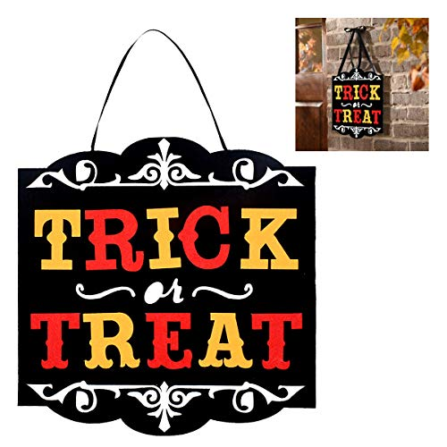 (IMOSA Helloween Sign Trick or Treat Felt Helloween Wall Sign Halloween Door Hanger Helloween Decoration Shelf Table 11.8in by11.8in)