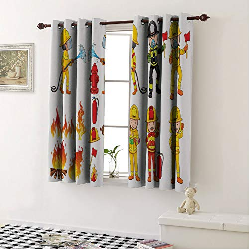 Mozenou Home Decoration Blackout Curtains Fireman Colorful Firefighters Hoses and Fire Hydrant Public Servants Saving People Multicolor/Curtains/Drapes for Bedroom 55 by 39 in]()
