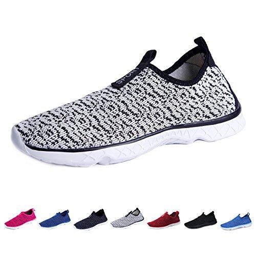 KEALUX Männer Frauen Leichte Wasser Schuhe Mit Entwässerung Löcher Auf Unten Walking Sneaker Quick-Dry Wasser Sport Barfuß Schuhe Für Wasser Aktivitäten Schwarz-Weiss