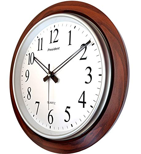 LYONIC President Quartz Official Designer Big Size Wall Clock for Home,Hall,Office(42X42 cms Color-Dark Wood) Made in…