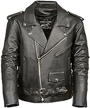 Event Biker Leather Men's Basic Motorcycle Jacket with Pockets (Black, XX-La