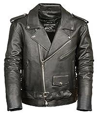 Event Biker Leather Men's Basic Motorcycle Jacket with Pockets (Black, XX-Large)