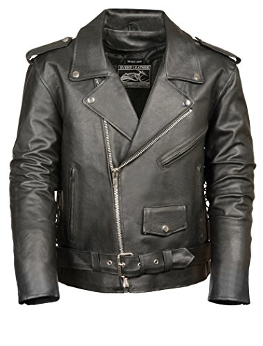 Leather Motorcycle Biker Jacket - Event Biker Leather Men's Basic Motorcycle Jacket with Pockets (Black, XX-Large)